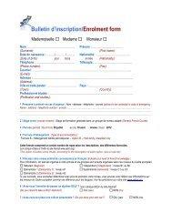 Bulletin d'inscription/Enrolment form