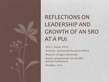 LEADERSHIP AND GROWTH OF AN SRO AT A PUI