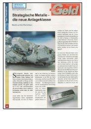 Strategische Metalle - Maklerbüro Rolf Tiemann