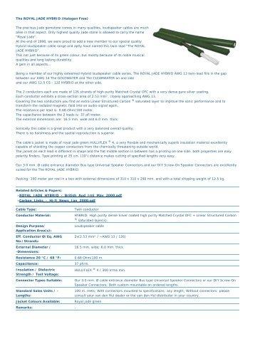 Van den Hul: Discontinued Products: The ROYAL JADE HYBRID ...