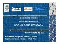 DOENÇA COMO METÁFORA 2 de outubro de 2007