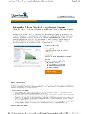 Page 1 of 2 New From T. Rowe Price: Interactive Retirement Income ...