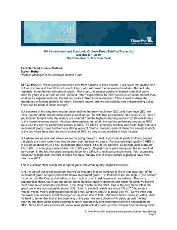 2011 Investment and Economic Outlook Press Briefing Transcript ...