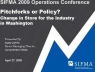 SIFMA 2009 Operations Conference Pitchforks or Policy?
