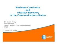 Business Continuity and Disaster Recovery in the Communications Sector