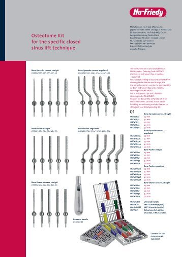 Osteotome Kit for the specific closed sinus lift technique