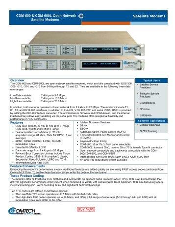 CDM-600 & CDM-600L Open Network Satellite Modems Satellite Modems
