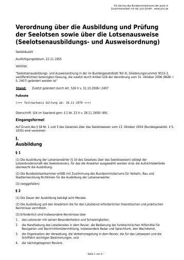 Seelotsenausbildungs- und Ausweisordn - Gesetze im Internet