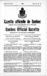 Gazette officielle de Québec Quebec Official Gazette