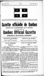Gazette officielle de Québec Quebec Officiai Gazette