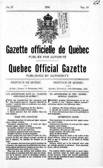 Gazette officielle de Quebec Quebec Official Gazette