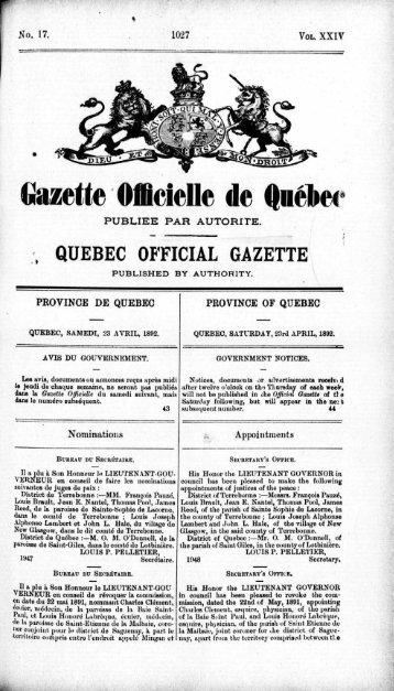 Gazette Officielle de Québec