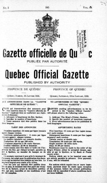 iazette officielle de Qu c Quebec Official Gazette