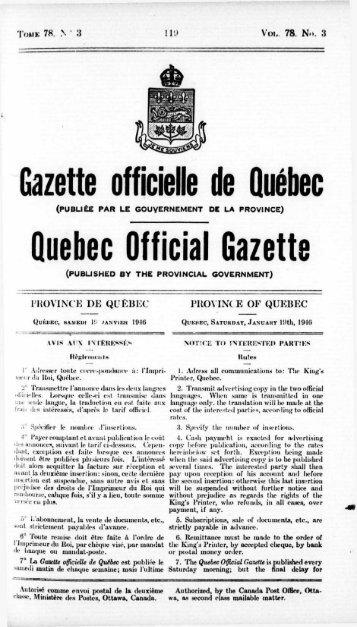 Quebec Official Gazette