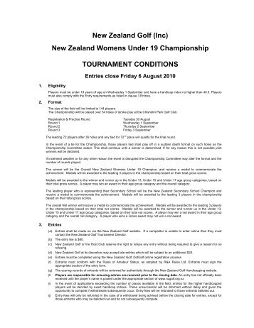 New Zealand Womens Under 19 Championship TOURNAMENT CONDITIONS