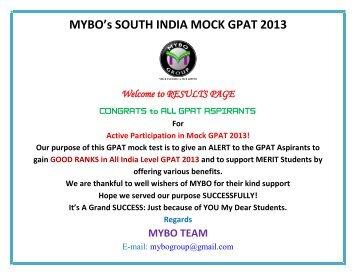 MYBO's SOUTH INDIA MOCK GPAT 2013