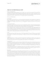 Allgemeine Geschäftsbedingungen (AGB) - Giordano.ch