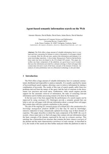 Agent-based semantic information search on the Web