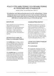 policy för habilitering och rehabilitering av personer med synskador