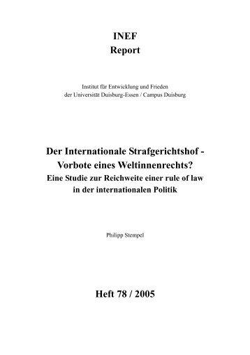 Der Internationale Strafgerichtshof - Vorbote eines Weltinnenrechts?