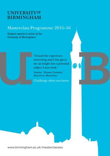 Masterclass Programme 2015–16