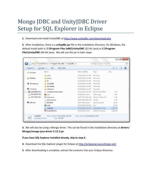 Mongo JDBC and UnityJDBC Driver Setup for SQL Explorer in