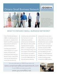 Ontario Small Business Network Summary
