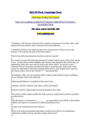 bus 475 week 1 knowledge check Bus 475 week 2 knowledge check this tutorial was purchased 4 times & rated  a by student like you 1 compared with other approaches to business, the.