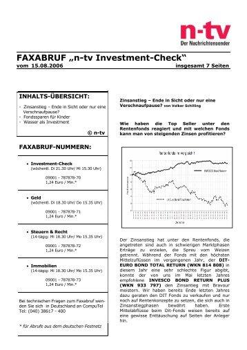 "FAXABRUF ""n-tv Investment-Check"" - Greiff Capital Management AG"