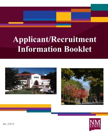 Applicant/Recruitment Information Booklet