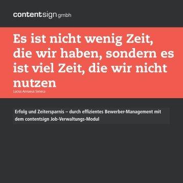 Job-Verwaltungs-Modul - contentsign GmbH