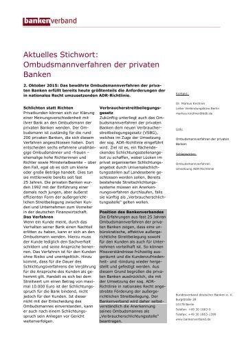 Aktuelles Stichwort: Ombudsmannverfahren der privaten Banken