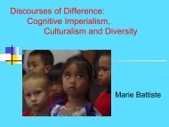 Discourses of Difference Cognitive Imperialism Culturalism and Diversity