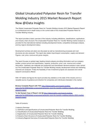 Global Unsaturated Polyester Resin for Transfer Molding Industry 2015 Market Research Report