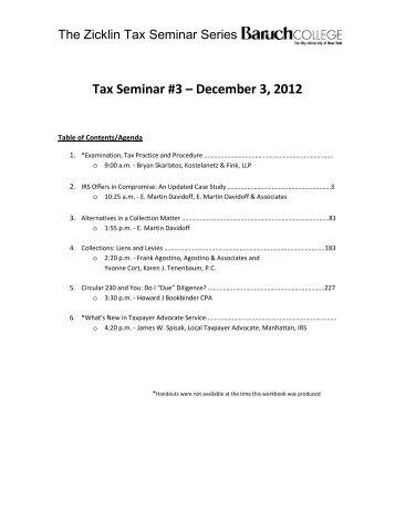 Tax Seminar #3 – December 3 2012