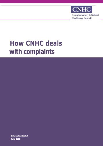 How CNHC deals with complaints