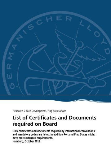 List of Certificates and Documents required on Board - GL Group