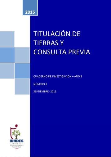 TIERRAS Y CONSULTA PREVIA