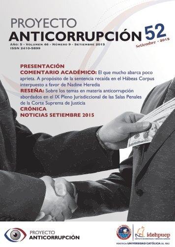 Boletín Proyecto Anticorrupción 52 - Setiembre 2015