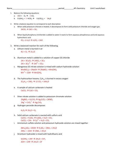 Ap Unit 5 Worksheet Answers - Ms. Jensen Chemistry