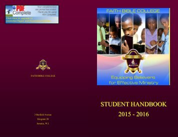 FBC Student Handbook with Cover (2015-16) v