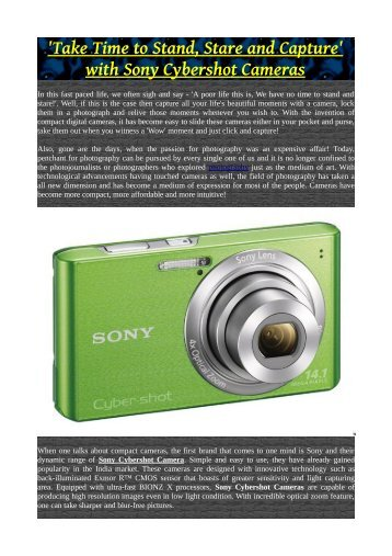 'Take Time to Stand, Stare and Capture' with Sony Cybershot Cameras