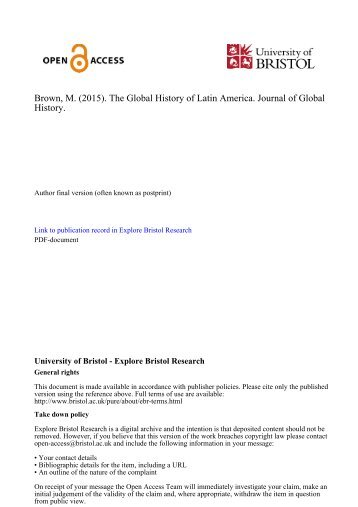 Brown M (2015) The Global History of Latin America Journal of Global History