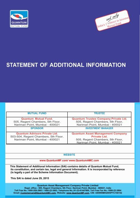 STATEMENT OF ADDITIONAL INFORMATION