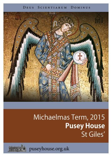 Michaelmas Term 2015 Pusey House St Giles'