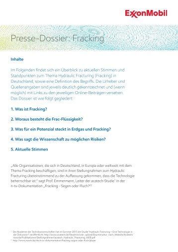 Presse-Dossier Fracking