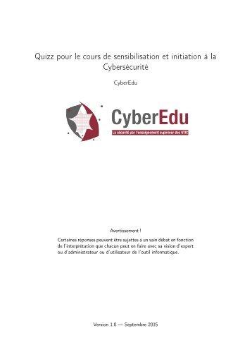 Quizz pour le cours de sensibilisation et initiation à la Cybersécurité