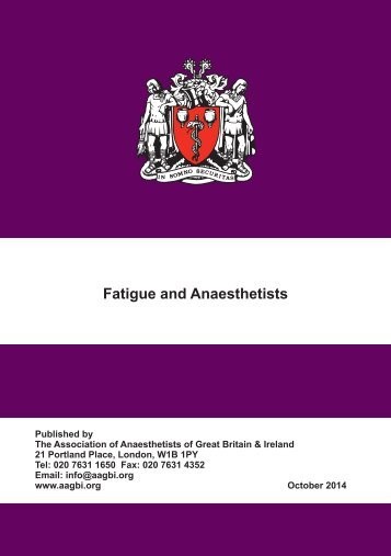 Fatigue and Anaesthetists