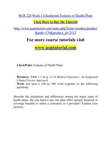 hcr220 week 7 checkpoint Uophelp is a online tutorial store we provides hcr 220 week 1 checkpoint features of health plans.