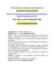 HCR 230 Week 3 assignment welfare reforms act